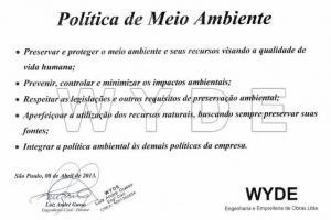 WYDE define nova POLÍTICA DE MEIO AMBIENTE