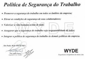 WYDE define nova POLÍTICA DE SEGURANÇA DO TRABALHO
